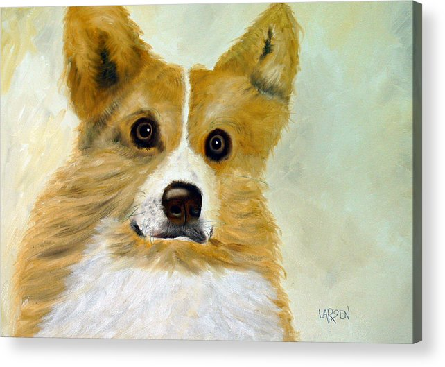 Acrylic Print featuring the painting Corgi by Dick Larsen
