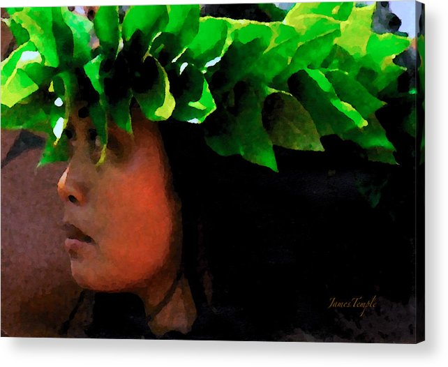 Hula Acrylic Print featuring the digital art Molokai Wahine Dancer by James Temple