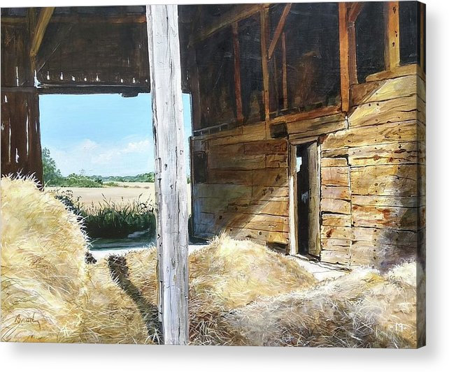 Barn Acrylic Print featuring the painting While The Sun Shines by William Brody