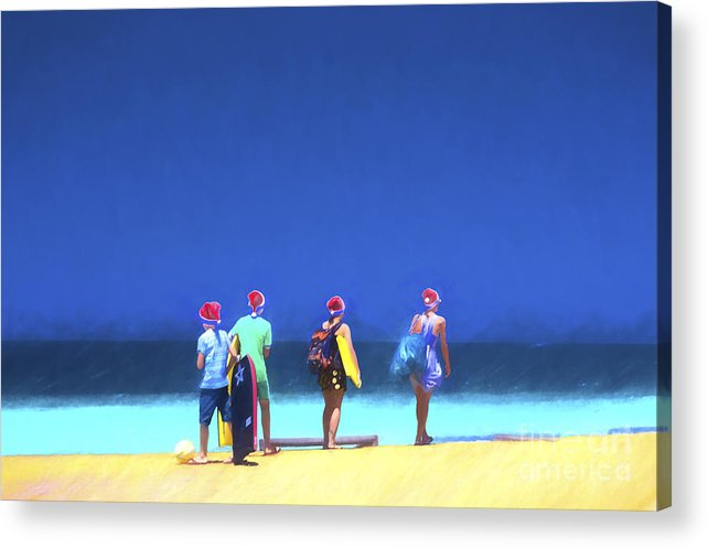 Children In Santa Hats Acrylic Print featuring the photograph Kids in santa hats at beach by Sheila Smart Fine Art Photography