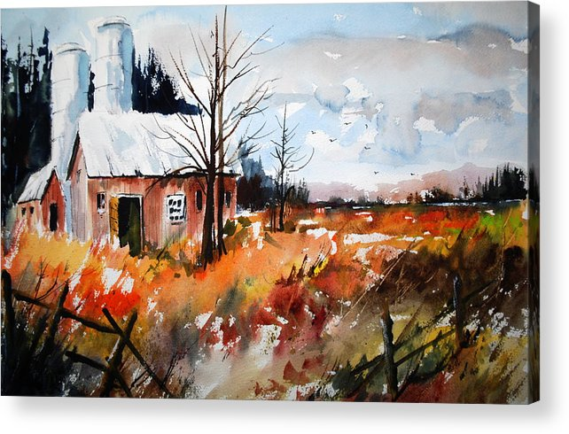 Fall Colours Open Fields Autumn Farms Landscapes Rustic Scenes Acrylic Print featuring the painting September Song Two by Wilfred McOstrich