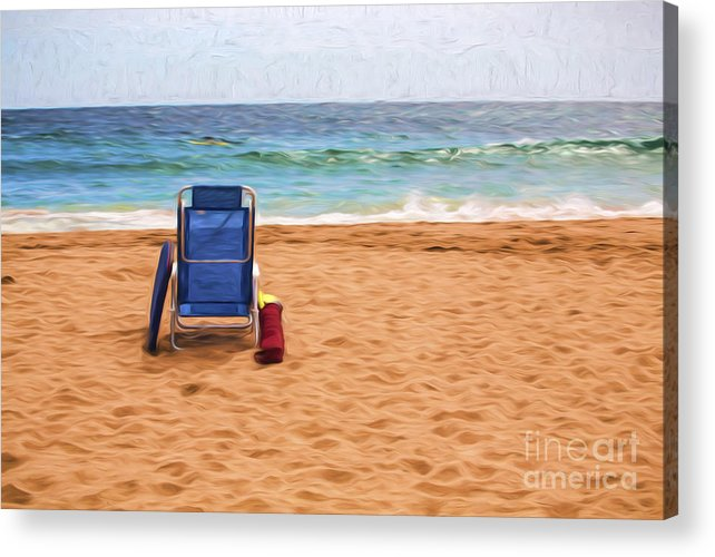 Australia Acrylic Print featuring the photograph Chair on empty beach by Sheila Smart Fine Art Photography