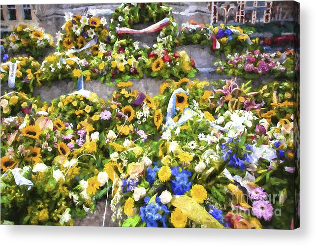 Brugge Acrylic Print featuring the photograph Flowers in Brugge by Sheila Smart Fine Art Photography