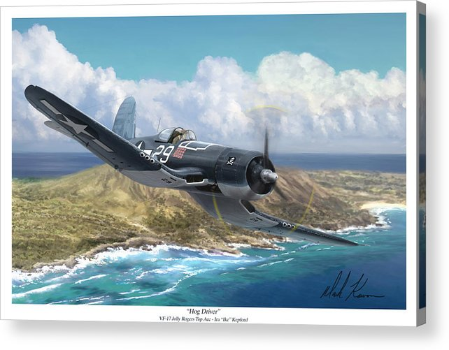 Ike Kepford Acrylic Print featuring the painting Hog Driver Vf 17 Jolly Rogers Top Ace Ike Kepford by Mark Karvon