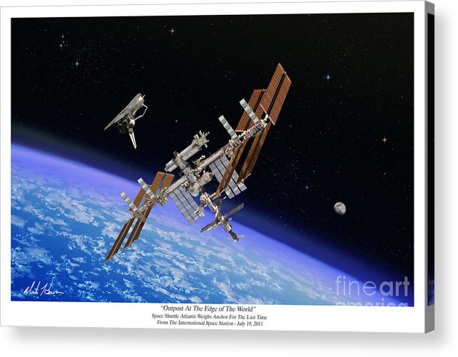 Iss Acrylic Print featuring the painting Outpost At The Edge of The World by Mark Karvon