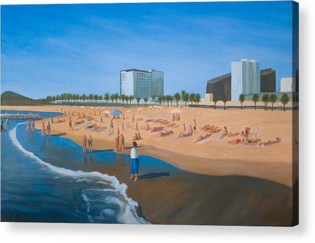 Landscape Acrylic Print featuring the painting Playa de la Barceloneta by Stephen Degan