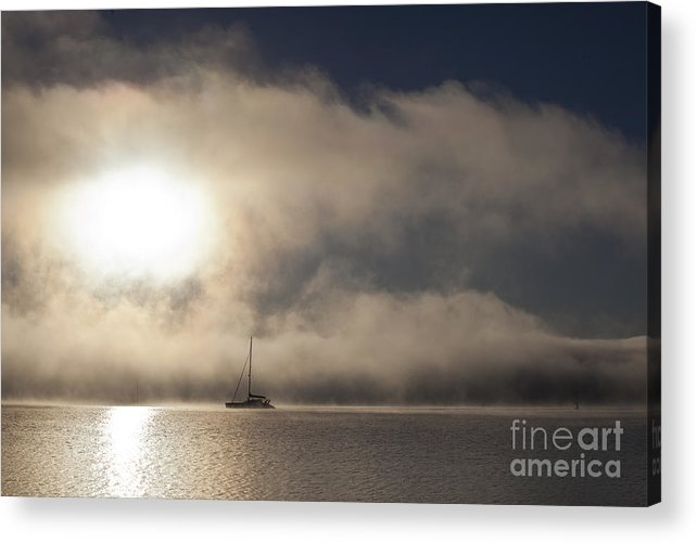 Yacht In Mist Acrylic Print featuring the photograph Dawn mist by Sheila Smart Fine Art Photography