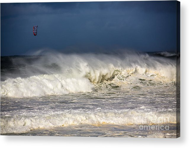 Kite Surfer Acrylic Print featuring the photograph Hanging in there by Sheila Smart Fine Art Photography