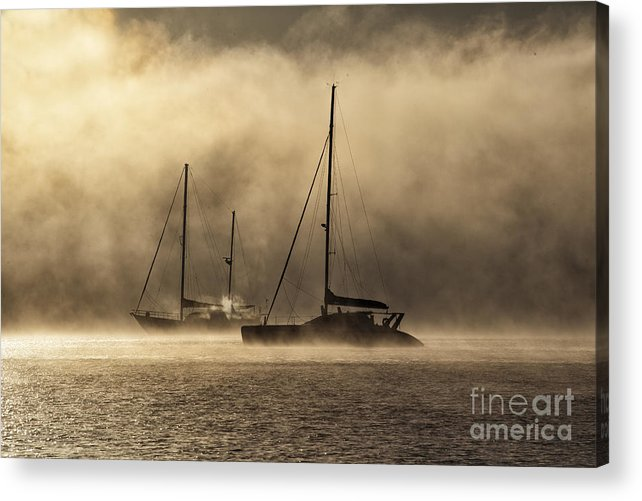 Yachts Acrylic Print featuring the photograph Two yachts in dawn mist by Sheila Smart Fine Art Photography