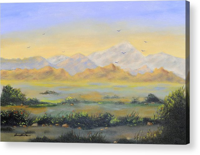 Landscape Acrylic Print featuring the painting Desert Sunrise by Annette Tan