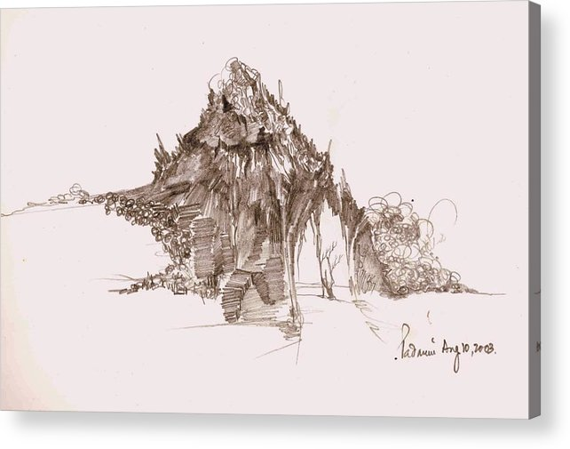 Landscape Acrylic Print featuring the drawing Rocks And Stones by Padamvir Singh