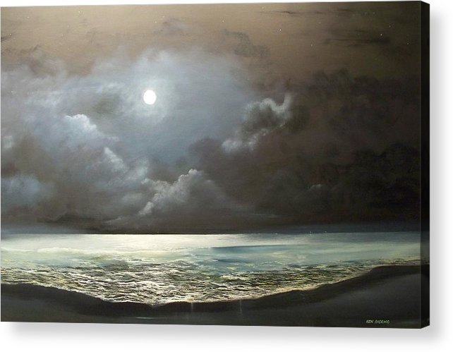 Moon Acrylic Print featuring the painting Atlantis Moon by Ken Ahlering