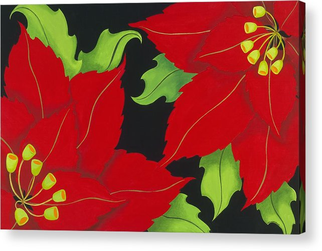Acrylic Acrylic Print featuring the painting Double Red Poinsettias by Carol Sabo