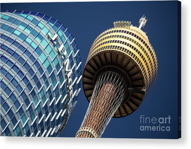 Jp Morgan Building Acrylic Print featuring the photograph Jp Morgan Building And Sydney Tower by Sheila Smart Fine Art Photography