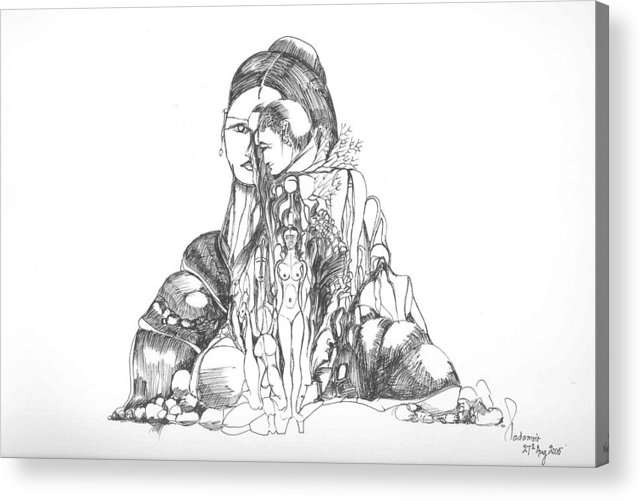 Surreal Acrylic Print featuring the drawing Rocks And Bodies by Padamvir Singh