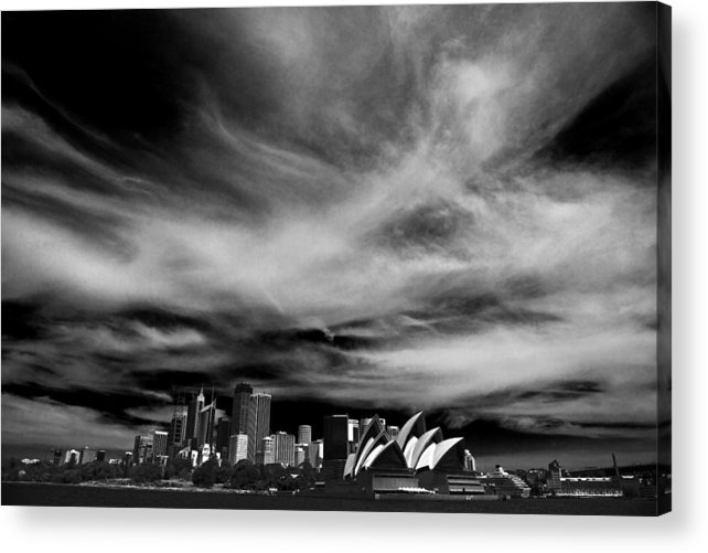 Sydney Acrylic Print featuring the photograph Sydney skyline with dramatic sky by Sheila Smart Fine Art Photography