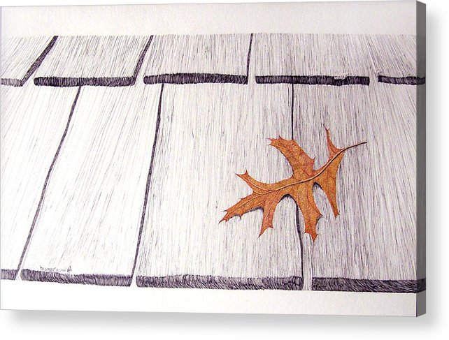 Still Life. Dry Leaf Acrylic Print featuring the drawing The Loner by A Robert Malcom