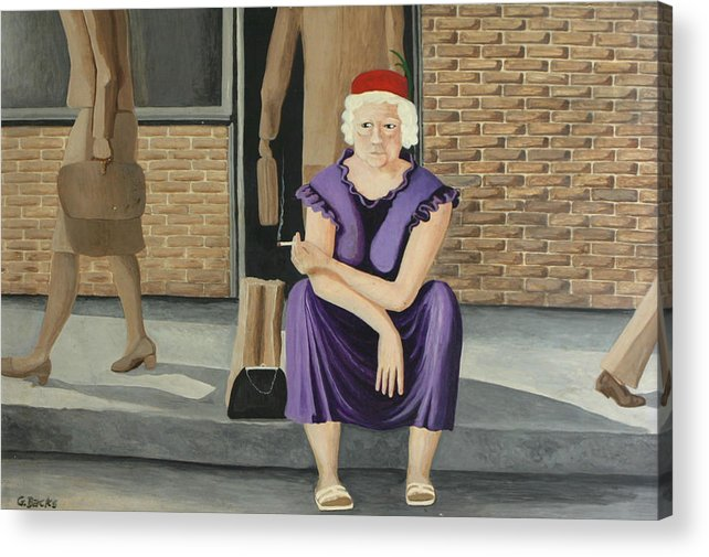 Figurative Acrylic Print featuring the painting The Purple Dress by Georgette Backs