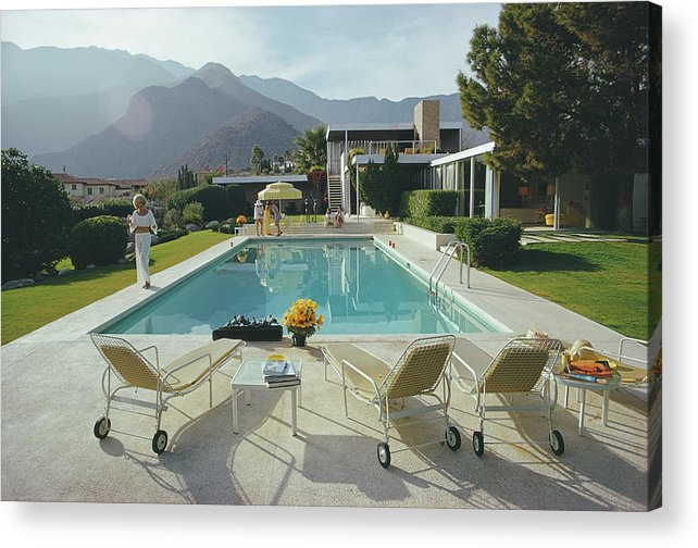 People Acrylic Print featuring the photograph Kaufmann Desert House by Slim Aarons