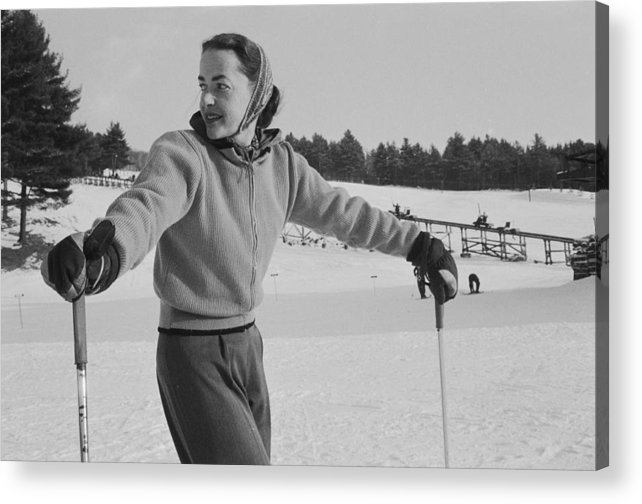 Skiing Acrylic Print featuring the photograph New England Skiing by Slim Aarons