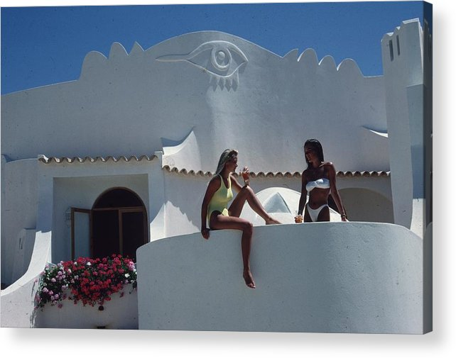 Algarve Acrylic Print featuring the photograph Balcony Bathing by Slim Aarons