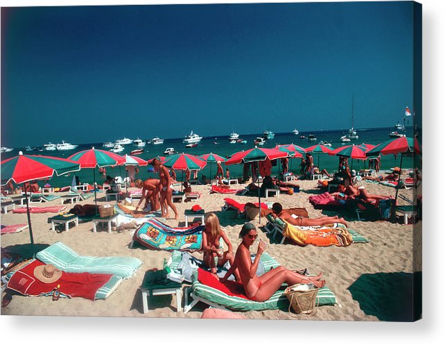 People Acrylic Print featuring the photograph Beach At St. Tropez by Slim Aarons