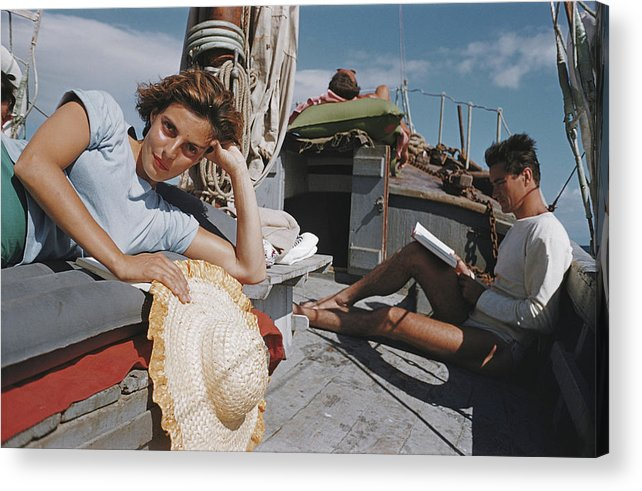 Straw Hat Acrylic Print featuring the photograph Capri Cruise by Slim Aarons