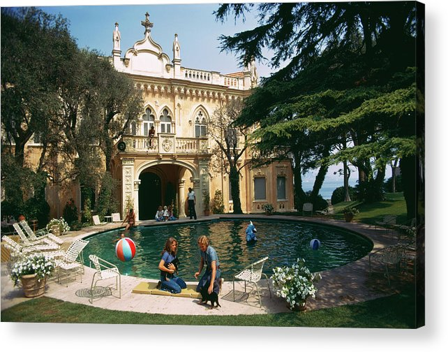 Pets Acrylic Print featuring the photograph Chateau St. Jean by Slim Aarons