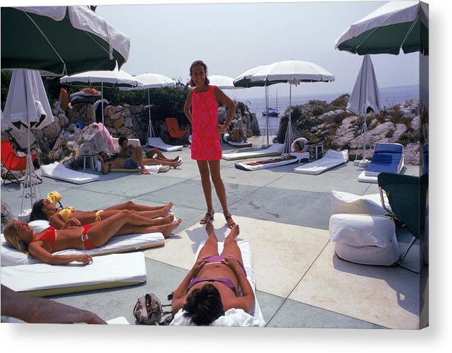 People Acrylic Print featuring the photograph Eden Roc Beach Club by Slim Aarons