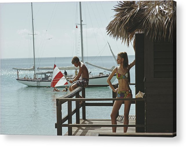 Beach Hut Acrylic Print featuring the photograph Fishing On Honeymoon Porch by Slim Aarons