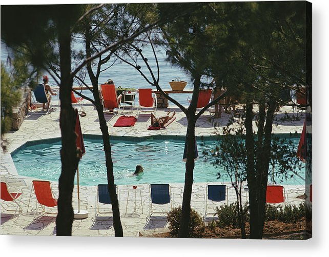 People Acrylic Print featuring the photograph Hotel Il Pellicano by Slim Aarons