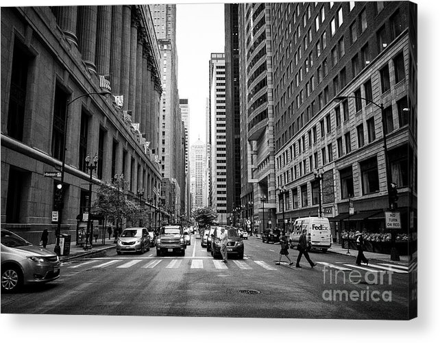 Chicago Acrylic Print featuring the photograph Looking Along The Lasalle Street Canyon Towards The Chicago Board Of Trade Building In The Financial by Joe Fox
