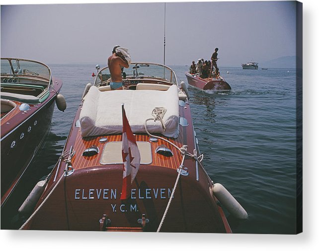 People Acrylic Print featuring the photograph Motorboats In Antibes by Slim Aarons