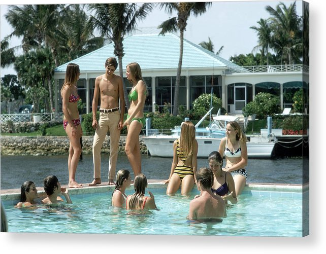 Young Men Acrylic Print featuring the photograph Phil Richards Pool by Slim Aarons
