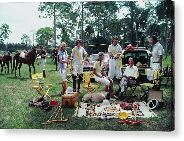 Horse Acrylic Print featuring the photograph Polo Party by Slim Aarons