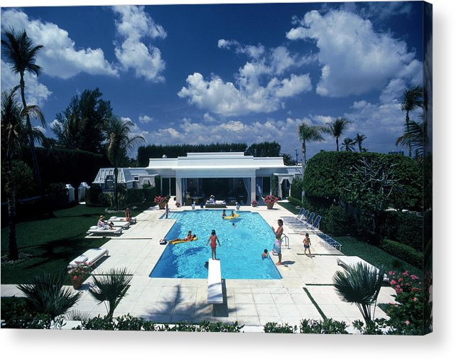 1980-1989 Acrylic Print featuring the photograph Pool In Palm Beach by Slim Aarons