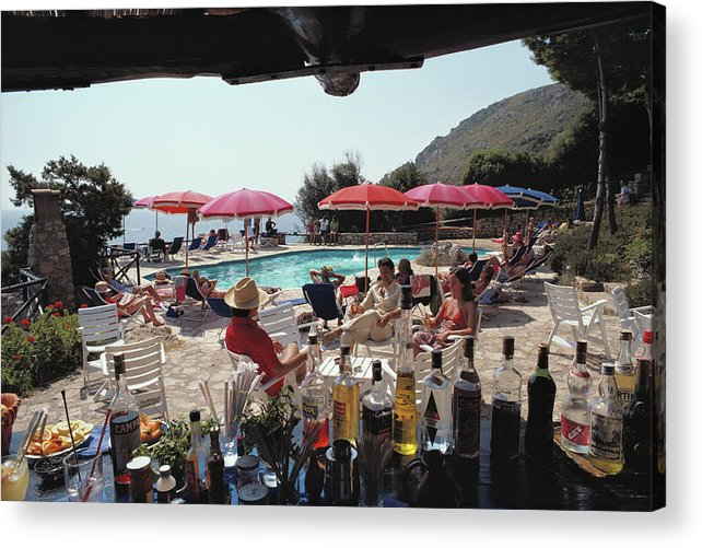 1980-1989 Acrylic Print featuring the photograph Poolside Bar by Slim Aarons