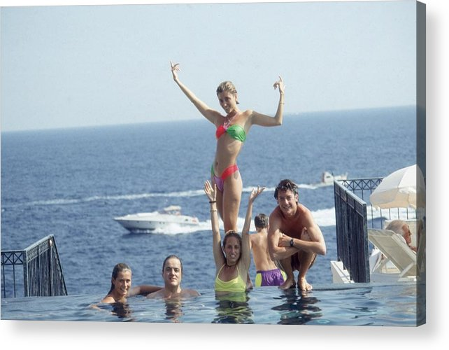 Young Men Acrylic Print featuring the photograph Posing At Cap Ferrat by Slim Aarons