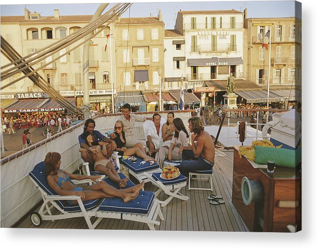 People Acrylic Print featuring the photograph Saint-tropez by Slim Aarons