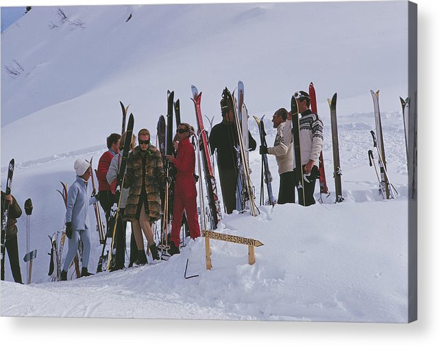 Gstaad Acrylic Print featuring the photograph Skiers At Gstaad by Slim Aarons