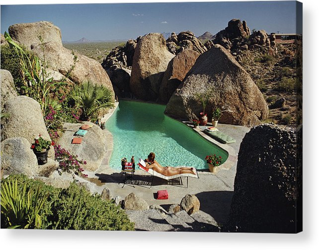 People Acrylic Print featuring the photograph Sunbathing In Arizona by Slim Aarons