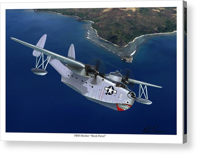 Aviation Art Acrylic Print featuring the painting PBM Mariner by Mark Karvon