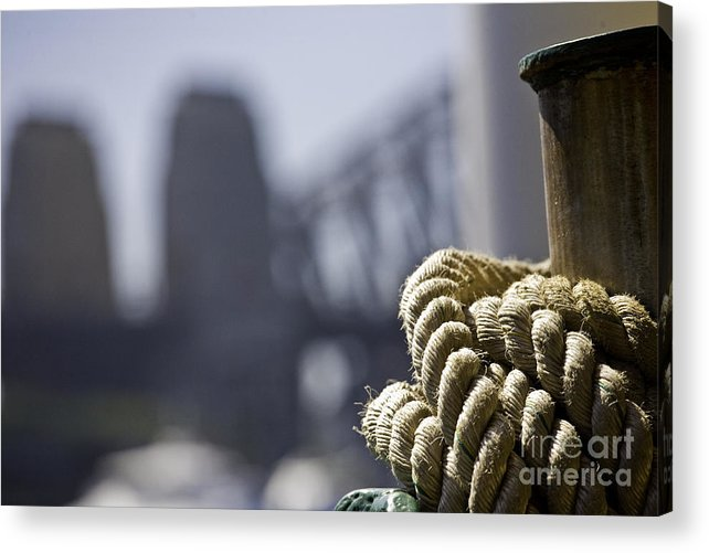 Sydney Harbour Acrylic Print featuring the photograph Ropes with Harbour backdrop by Sheila Smart Fine Art Photography