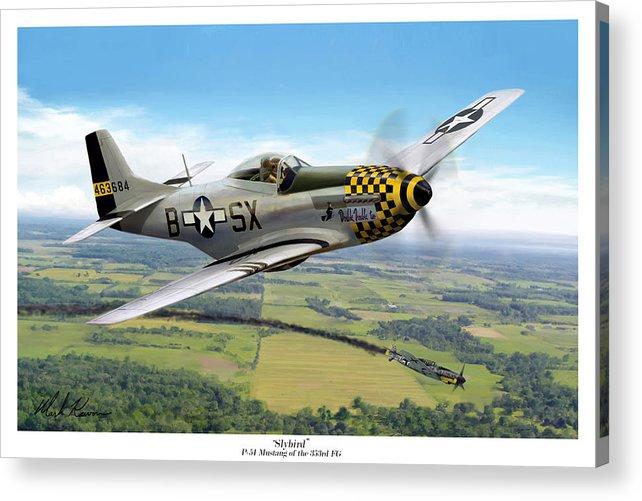 Aviation Acrylic Print featuring the painting Slybird by Mark Karvon
