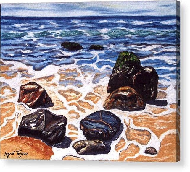 Rocks Acrylic Print featuring the painting Half Circle Rocks by Ingrid Torjesen