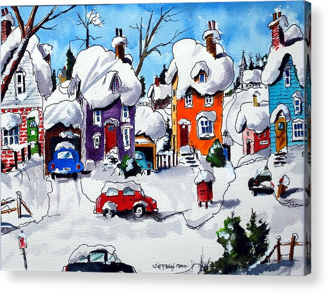 Snow Winter Houses Villages Homes Quebec Acrylic Print featuring the painting Home Sweet Home by Wilfred McOstrich