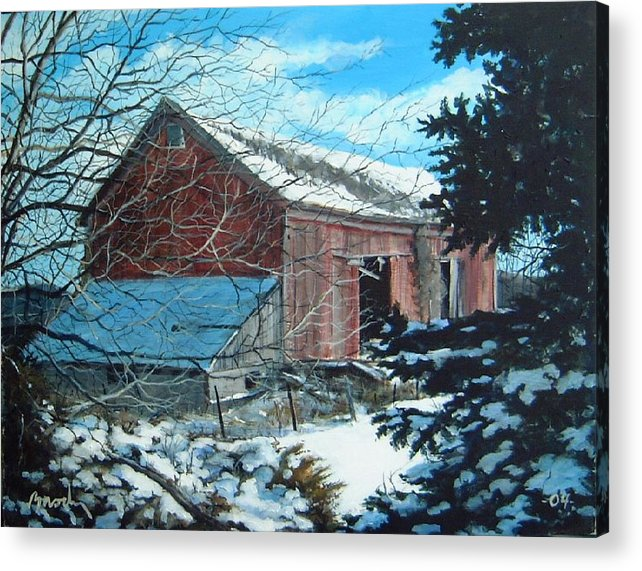 Barn Acrylic Print featuring the painting Parker Road Barn by William Brody