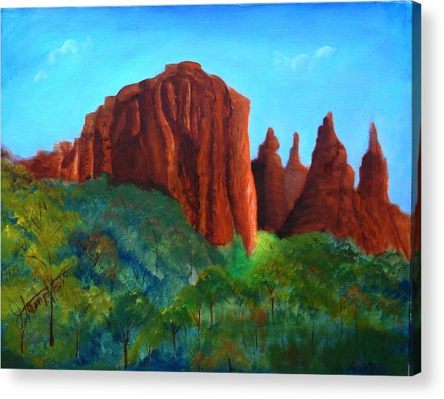 Arizona Acrylic Print featuring the painting Sedona Red Rocks by Jack Hampton