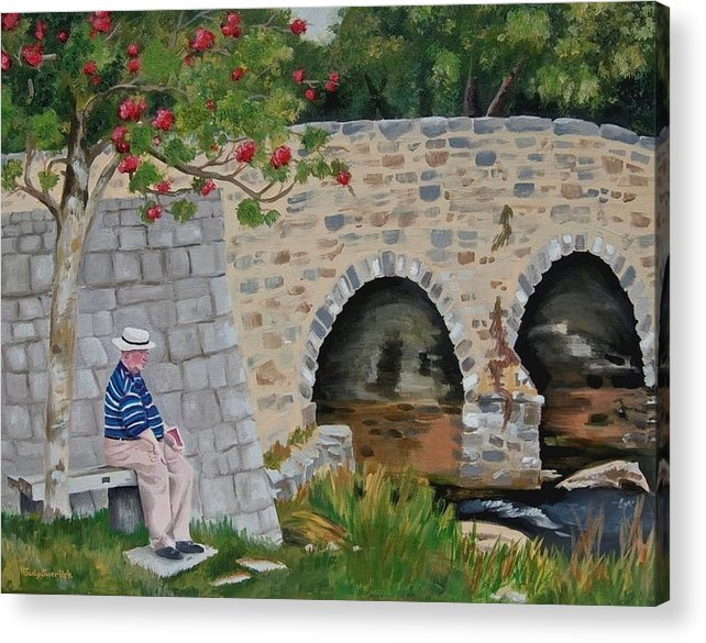 Scotland Acrylic Print featuring the painting Scottish Man under Flowering Tree by Judy Swerlick