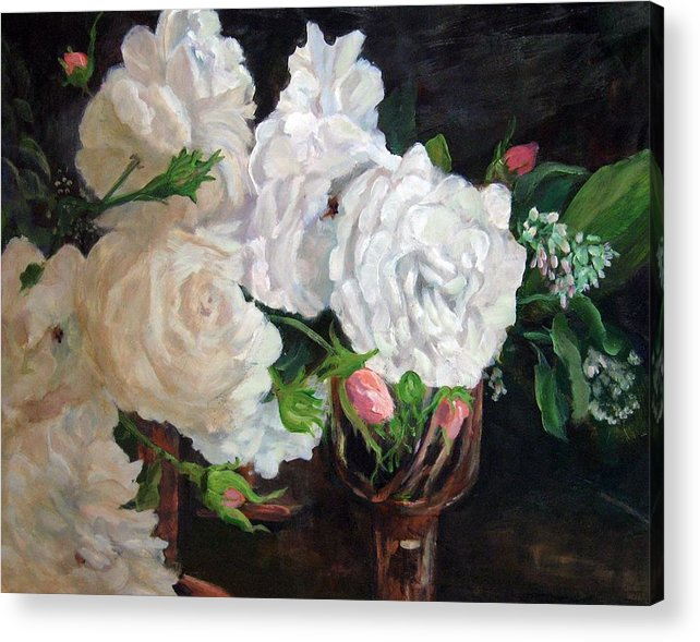 Still Life Acrylic Print featuring the painting Scent of Roses by Jimmie Trotter